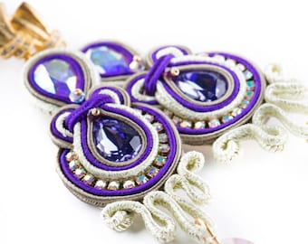 Handmade earrings//soutaches//high quality webbing//original Swarovski//unique and original earrings//purple earrings//Ceremony