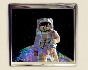 Trippy Astronaut Cigarette Case Business Card ID Holder Wallet Psychedelic Outerspace Outer Space Universe