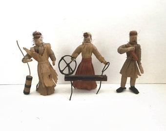 Set of Three (3) Vintage Corn Husk Dolls / Dollies