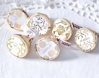 216 Wedding Gold Foil Stickers for Hershey®Kisses, Custom Gold Party Favors, Gold Foil Party Supplies, Gold Wedding Supplies