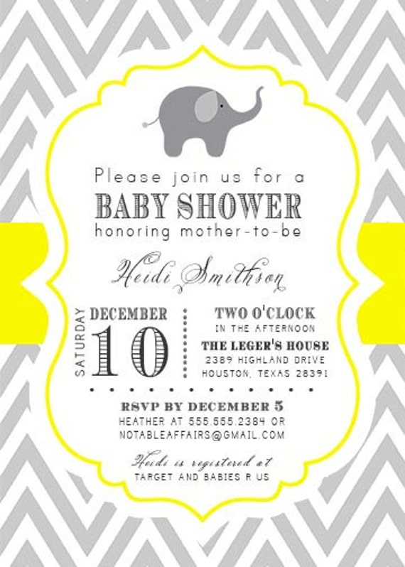 Printable gray and yellow elephant chevron baby show on bow tie baby chevron baby shower invitations printable gray and yellow elephant chevron baby show on bow tie baby filmwisefo Choice Image