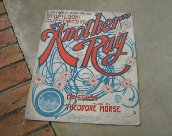 1910  vintage sheet music sacred song  (  Another Rag )