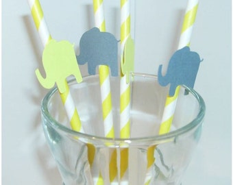 Elephant Straws, Gender Reveal, Photo Prop, Birthday Party, Baby Shower (902S)