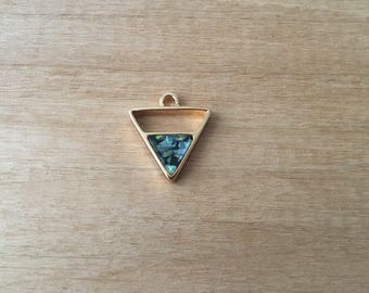 1 - Abalone Triangle Charm - Gold Toned Brass - Layering Charms Minimal Jewelry Pendant (AS189)