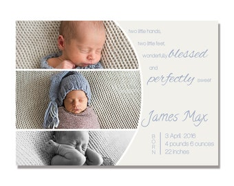 INSTANT DOWNLOAD Birth Announcement template for Photoshop, fully editable