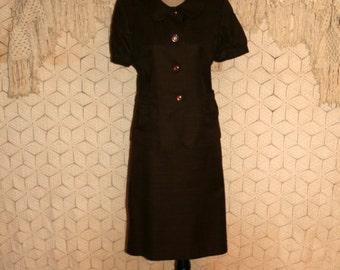 90s Skirt Suit Brown Tweed Womens Suits Cotton Short Sleeve Jacket Peter Pan Collar 90s Clothing Size 12 Large Womens Vintage Clothing
