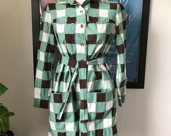Vintage Marimekko Dress Tunic 1974 / Size 40 , 12 , Small-Medium / Finland Square Shirt Dress