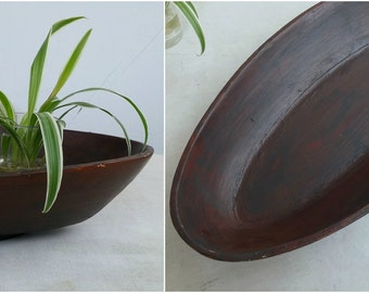 Vintage Wood Bowl Oval, Dark Brown Fruit Bowl, Rustic Trinket Bowl Coin Tray, Jungalow Decor, Wooden Organizer Pot Base, Catchall Tray Wood