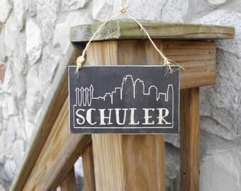 Kansas City Skyline ornament, personalized Christmas ornament, wood skyline ornament