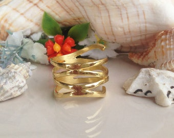 20% off- SALE!! Gold  Ring - Filigree Ring - Statement Ring - Hammered Ring - Wide Ring - Everyday Wear - Simple Jewelry - Gold BAnd
