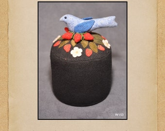 North Cat-Olina Quilts, Blue Bird & Strawberry Pincushion, Wool Appliqué Pattern