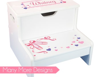 Girls Personalized STEP Stool With Storage Childs Pink STEP U0026 Store Stools  Toddlers Baby Girl Gift