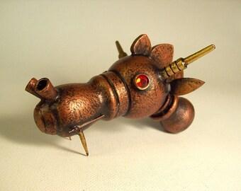 Steampunk Dragon Head Copper Robot Dragon Fairytale Fantasy Ruby Eyes Wood Sculpture