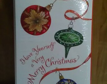 Six Vintage Carlton Cards Sparkly Ornaments Christmas Greeting Cards