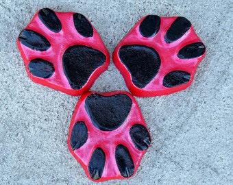 Dog paw print planter feet, Pot feet, Dog print, Yard art, Patio decor, Black, Red, Plant stand, animal paw