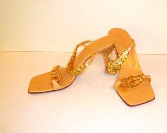 Women's Sandal Jewel Gold Amber Rhinestone Slides Size 6 1/2  Giuseppe Zanotti Vintage by VintageReinvented