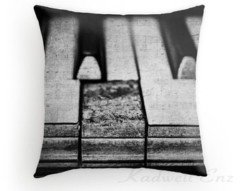 These Worn Tunes in Black and White, Photo Throw Pillow Cover, Home Decor, Piano Art Vintage Piano, Old Piano Keys, Musical Instrument Decor