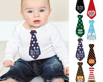 Baby's First Holidays Milestone Necktie Stickers - Set of 8 Tie Stickers - First Valentine's Day, St. Patrick's Day, Easter, 4th of July