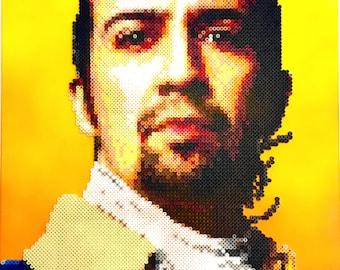 Hamilton Retro Art. Lin-Manuel Miranda Handmade Pixel Art Portrait. Perler Beads on Canvas.