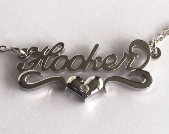 SALE Hooker Heart Nameplate Necklace in Silver