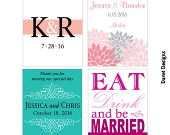150 - 3x4 inch Custom Wedding Wine Bottle / Rectangle Waterproof Labels - many designs to choose - change designs to any color, wording etc