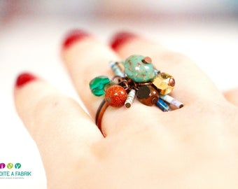 """Ring adjustable """"Indian blue"""" in its box - design 2016"""