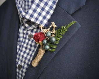 Woodland Boutonniere, Gold Navy Wedding, Rustic Boutonniere, Woodland Wedding