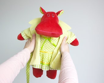 Unique fabric doll -Hippo stuffed animal -Soft doll -Modern cuddly toy -Marilyn the Mippo -Dress-up toy -I want a hippopotamus for Christmas