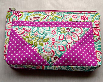 Zipper pouch Free Motion Quilted Multi Fabric Magenta Dot and Floral