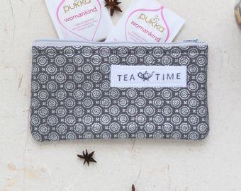 Tea wallet, Travel Tea bag holder, Fabric Tea bag wallet, zippered pouch, Tea bag holder, Tea Accessories, Tea Lover eco gift by SaidoniaEco