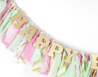 Pink, Mint and Gold Girl's Birthday Party - Rag Banner - Photography Prop - First Birthday - Golden Birthday