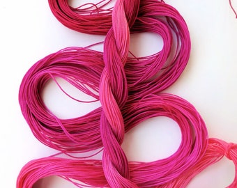 "Size 40 ""Raspberry Sorbet"" hand dyed thread 6 cord cordonnet tatting crochet cotton"