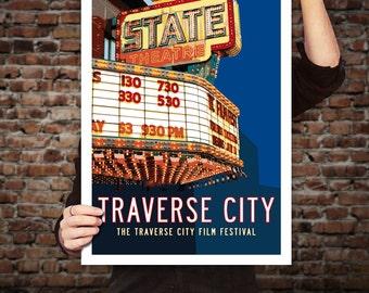 TRAVERSE CITY State Theatre, Michigan Travel Poster. Michigan Art, Movie Marquee, Theatre Decor, Movie Theater Decor, Retro Art Print.