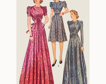 1940s Style Hostess or Day Dress Full Eight Gore Skirt and Length options Custom Made in Your Size From a Vintage Pattern