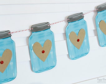 Blue Mini Mason Jar Heart Garland : Handcrafted Valentine's Day Decoration | Valentine's Party Decoration | Rustic Mantel Decoration | Heart