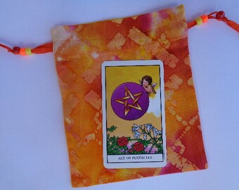 Orange,Yellow and Red Cotton Batik - Tarot, Rune  or Prayer Beads Bag
