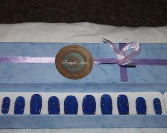 Royal blue Fantasy false nails