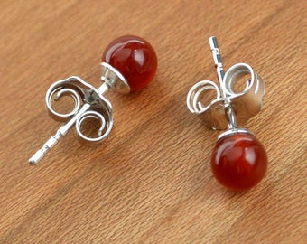 Natural Carnelian stud earrings, Quality red-orange Carnelian stones, Small 4 mm size stone, Sterling Silver posts and ear-backs