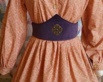 Purple Velvet Medici Belt with Brass Filigree Accent