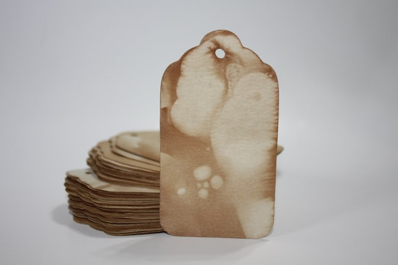 Tea stained tags SMALL Luggage Tags  approx 7/8 x 1 5/8 inch Tea Stained Tags