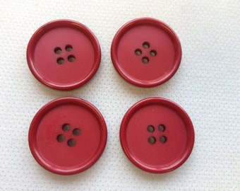 "Red buttons, Large Red buttons, Lot of 4    (7/8"" 23mm)"