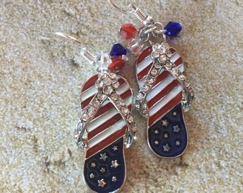 Patriotic Earrings, 4th of July Earrings, Red, White and Blue Flip Flop Earrings, Jewelry, Summer Jewelry, Beach Earrings, Womens Jewelry