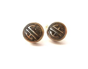 Pair of Swank Signed Circular Gold Tone Metal Vintage Etched Men's Monogram / Initial HF Cuff Links