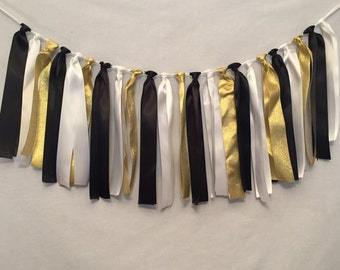 Ribbon Tie Garland/Black Garland/Ribbon Banner/Ribbon Strip Garland/Country Wedding Decor/Ribbon Tassel Garland/Gold Glitter Garland