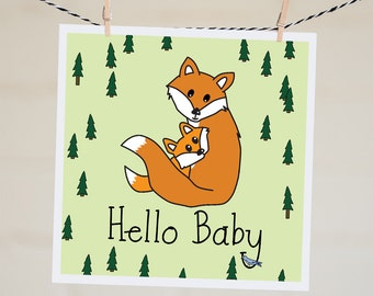Funny New Baby Card | Fox Baby Shower Card | New Baby Gift | Woodland Baby Shower Baby Boy Card Handmade Illustration Gift New Parents Card