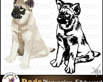 Norwegian Elkhound set 1- with 2 PNG files and 1 EPS & SVG Vinyl Ready Image Graphics {Instant Download}