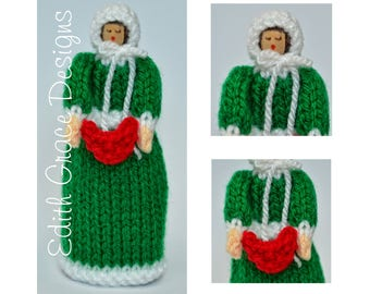 Christmas Doll Knitting Pattern, Toy Knitting Pattern, Carol Singer, Christmas Carolers, Christmas Peg Doll, Knit Doll, Knit Toy, Victorian