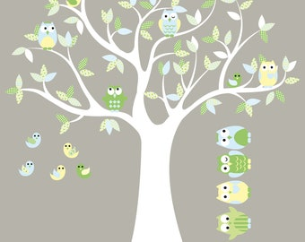 Kids tree vinyl wall decal with birds owls and pattern leaves with 5 FREE owls