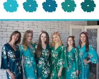 Shades of Teal and Green Wedding Color Bridesmaids Robes - Premium Rayon Fabric - Angel Song Pattern - Wider Belt & Lapels