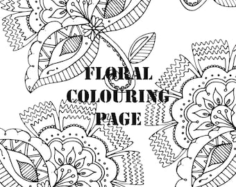 Floral Pattern Detailed Digital Printable Colouring Page